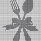 Silver cutlery silhouette cross stitch pattern in pdf