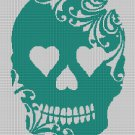 Sea green sugar skull silhouette cross stitch pattern in pdf
