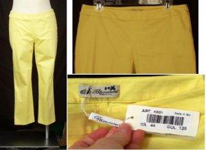 NEW BLUMARINE CAPRIS 44 M Medium 10 NWT Yellow Cropped Pants