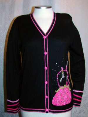 BEREK SWEATER PURSE POCKET S Small Black Pink Glitter Jeweled
