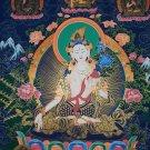 "White Tara Hand Painted Canvas Cotton Tibetan Thangka Painting From Nepal 30""/20""inch"