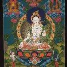 White Tara Hand Painted Canvas Cotton Tibetan Wall Hanging Thangka Painting From Nepal 55/44 Cm