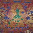 Green Tara Hand Painted Canvas Cotton Tibetan Thangka From Nepal