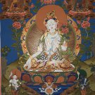 White Tara Hand Painted Canvas Cotton Tibetan Wall Hanging Thangka Painting From Nepal 55/44 Cm