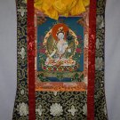 "White Tara hand painted thangka canvas cotton with silk framed from Nepal 32""/20""inch"