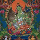 Green Tara Hand Painted Canvas Cotton Tibetan Thangka From Nepal 55/44cm