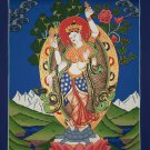 Prajnaparamita Hand Painted Canvas Cotton Thangka Painting From Nepal 44/33 cm