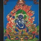 Black Manjushri Hand Painted Canvas Cotton Tibetan Thangka Painting From Nepal 44/33 cm