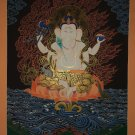 Ganesh Hand Painted Fine Quality Canvas Cotton Thangka From Nepal