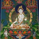 Green Tara Hand Painted Canvas Cotton Tibetan Fine Quality Thangka Painting From Nepal