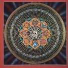 Om Tibetan Sankha Mantra Mandala  Hand Painted Tibetan Thangka Painting From Nepal