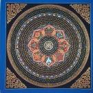 Om Tibetan Wheel Mantra Mandala Hand Painted Tibetan Wall HangingThangka Painting From Nepal