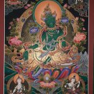 Green Tara Master Piece Canvas Cotton Tibetan Thangka Painting From Nepal