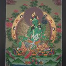 Green Tara Hand Painted Canvas Cotton Tibetan Thangka Painting From Nepal