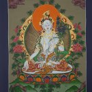 White Tara Hand Painted Canvas Cotton Tibetan Thangka From Nepal