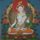 Whte Tara Hand Painted Canvas Cotton Tibetan Thangka Painting From NepL