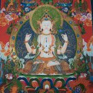 Chengrezig Thangka,Avalokitesvara thangka-with 24 karat Gold