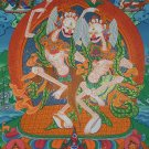 Citipati Hand Painted Tibetan Canvas Cotton Thangka From Nepal