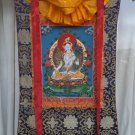 White Tara Hand Painted Canvas Cotton Tibetan Thangka With Silk Framed From Nepal