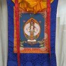 Avalokitesvara Hand Painted Tibetan Thangka With Silk Framed from Nepal