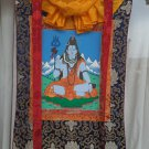 Shiva hand painted thangka With Silk Framed from Nepal