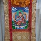 Padmasambhava hand painted canvas cotton thangka swith silk Framed from Nepal