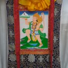 Hanuman Hand Painted Canvas Cotton Thangka Painting With Silk Framed From Nepal