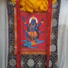 Kali hand painted  canvas cotton thangka With Silk Framed from Nepal