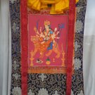 Durga hand painted  canvas cotton thangka With Silk Framed from Nepal
