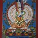 Ushnishasitatapattra Goddess of Protection from Evil Forces Hand Painted Tibetan Thangka From Nepal