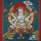 Sitatapatra Goddess of Protection from Evil Forces Hand Painted Tibetan Thangka From Nepal