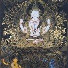 Chenrezig / Compassion Buddha Hand Painted Tibetan Thangka Painting From Nepal