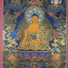 Shakyamuni Buddha Hand Painted Canvas Cotton Tibetan Thangka Painting From Nepal