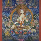 White Tara Hand Painted Canvas Cotton High-Quality Tibetan Thangka from Nepal