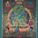 Green Tara Hand Painted Fine Quality Tibetan Thangka From Nepal
