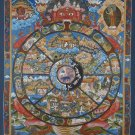 Original Wheel Of Life 24k Gold Hand Painted Canvas Cotton Tibetan Thangka From Nepal