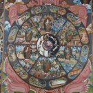 Wheel Of life Hand Painted Canvas Cotton Tibetan Thangka Master Piece From Nepal