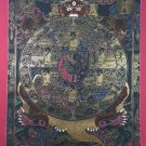 Wheel Of Life Hand Painted Canvas Cotton Tibetan Thangka From Nepal