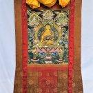 Large Shakyamuni buddha hand-painted canvas cotton thangka from Nepal