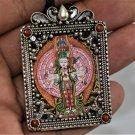 Avalokiteshvara Thangka, Amulet / Pendant Hand Painted Mini Thangka 925 Silver Pendant From Nepal