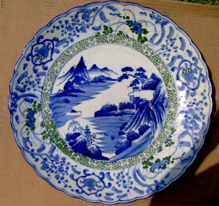 """1800S JAPANESE  MEIJI  PERIOD 18"""" BLUE/WHITE GORGEOUS CHARGER:"""