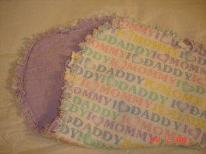 """I Love Mommy, I Love Daddy"" Rag Burp Cloth"