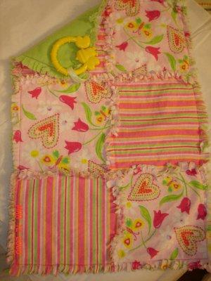 Pink/ Green Stripe/ Hearts Rag Lovey/ Security Blanket