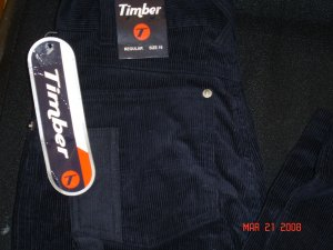 Boys NWT Timber cords (black) size 16