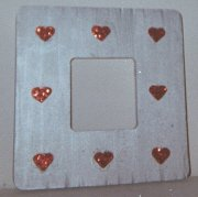 Glitter Red HEARTS on silver Picture Frame