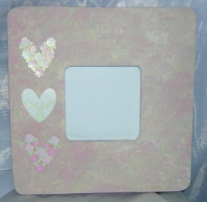 Sweet delicate pink white HEARTS picture frame
