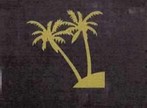 Striking Gold Palm Trees on Black Tote
