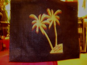 Love those decorated Golden Palm Trees - take them right in to winter on this black Tote!