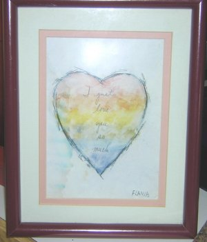"""Collector's Flavia print, """"I love you so much"""" framed in rich burgundy"""