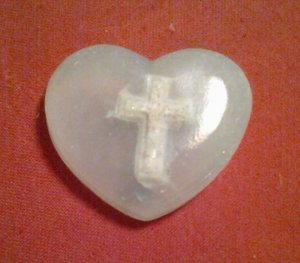 Cross in palest blue HEART shape all natural soap